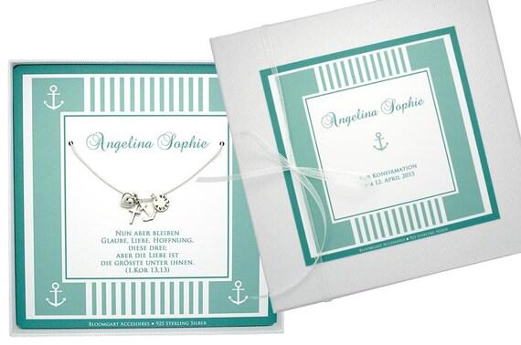 Junge Taufe Glaube Liebe Hoffnung mit Taufring blau und 38 cm Kette Silber 925