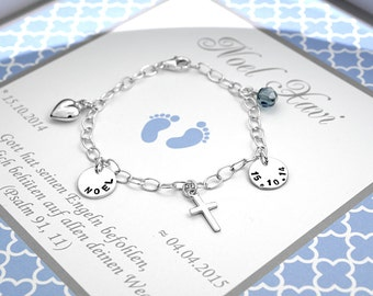 Christening bracelet with engraving 925 Silver Life Jewelery Baptism Christening Jewelery Gift for birth Gift for baby