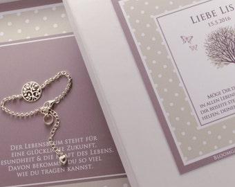 925 sterling silver bracelet - tree of life - engraving