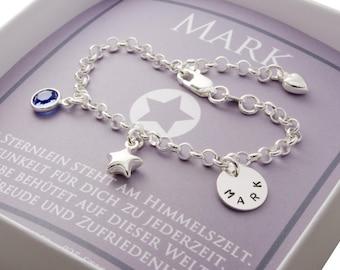 925 silver birth bracelet baby, baptismal jewelry engraving, name bracelet with star