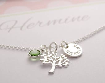 Name chain with life tree and engraving, 925 silver, gift box