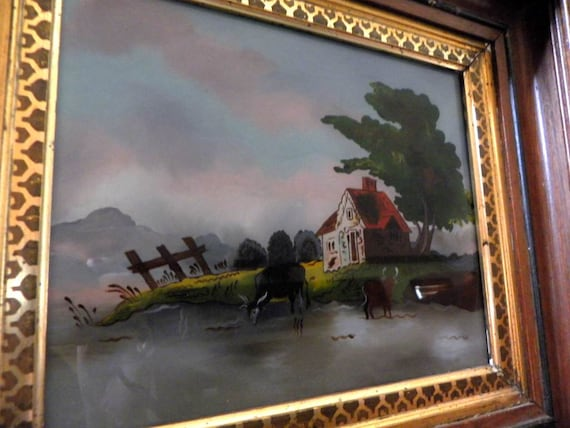 On Sale Antique Landscape Reverse Painted On Glass Etsy