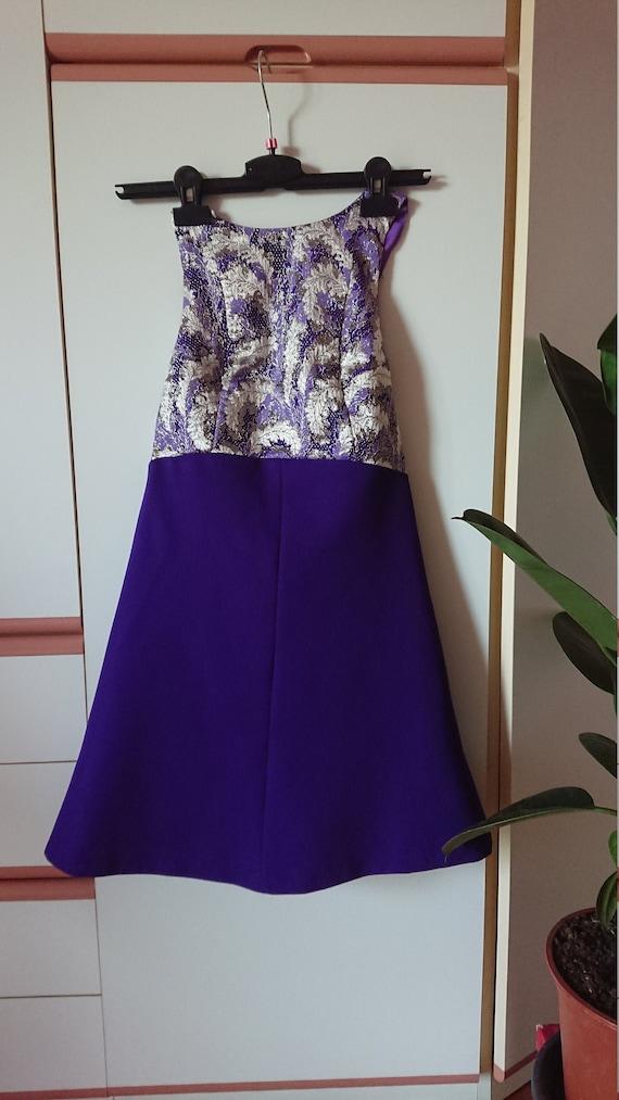 Vintage 60's 70's purple brocade gold empire halte