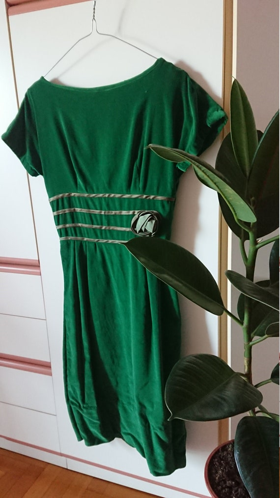 Vintage 50's Green velvet  Pencil Dress size S VLV