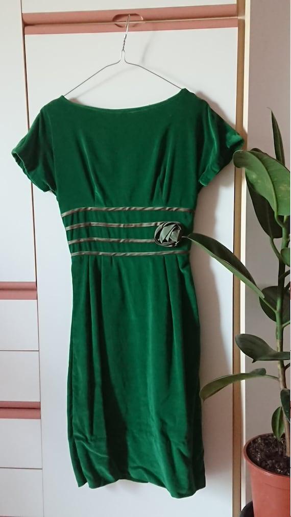 36-30-40 Gorgeous Details! Navy Velvet Dress 50/'s Vintage Eleanor Green
