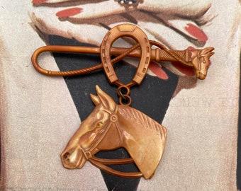Art Deco Celluloid Horse Brooch Unusual Design Circa 1950s Equestrian Interest Motif Unique Wow