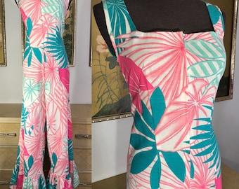 55db640f540 1980s Vintage Tropical Print Jumpsuit -- Vibrant Color and Unique Style!