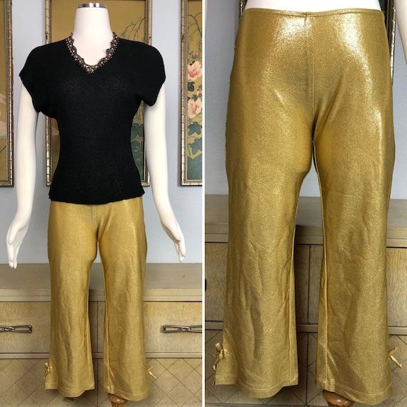 1990s Vintage Betsey Johnson Gold Capri Stretch Pa