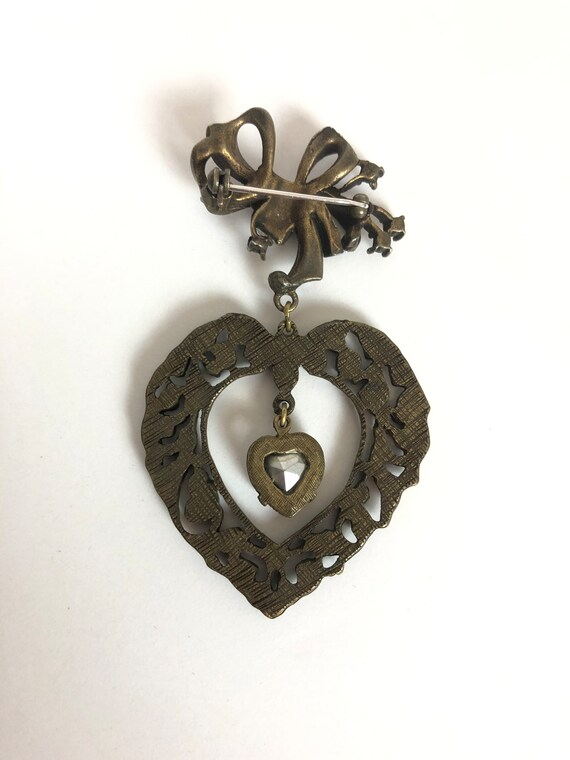 Vintage Bow and Heart Valentines Novelty Brooch -… - image 4