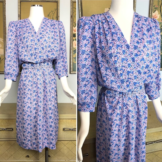 1980s Vintage Floral Print Dress by JT Dress -- Lo