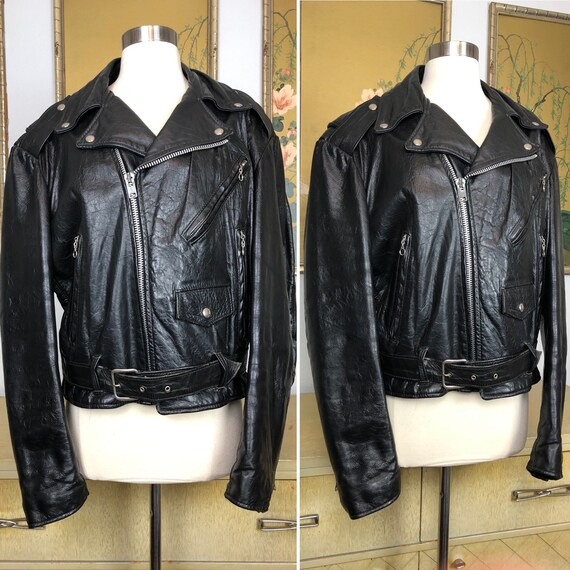 1970s Leather Motorcycle Jacket by Excelled, Size