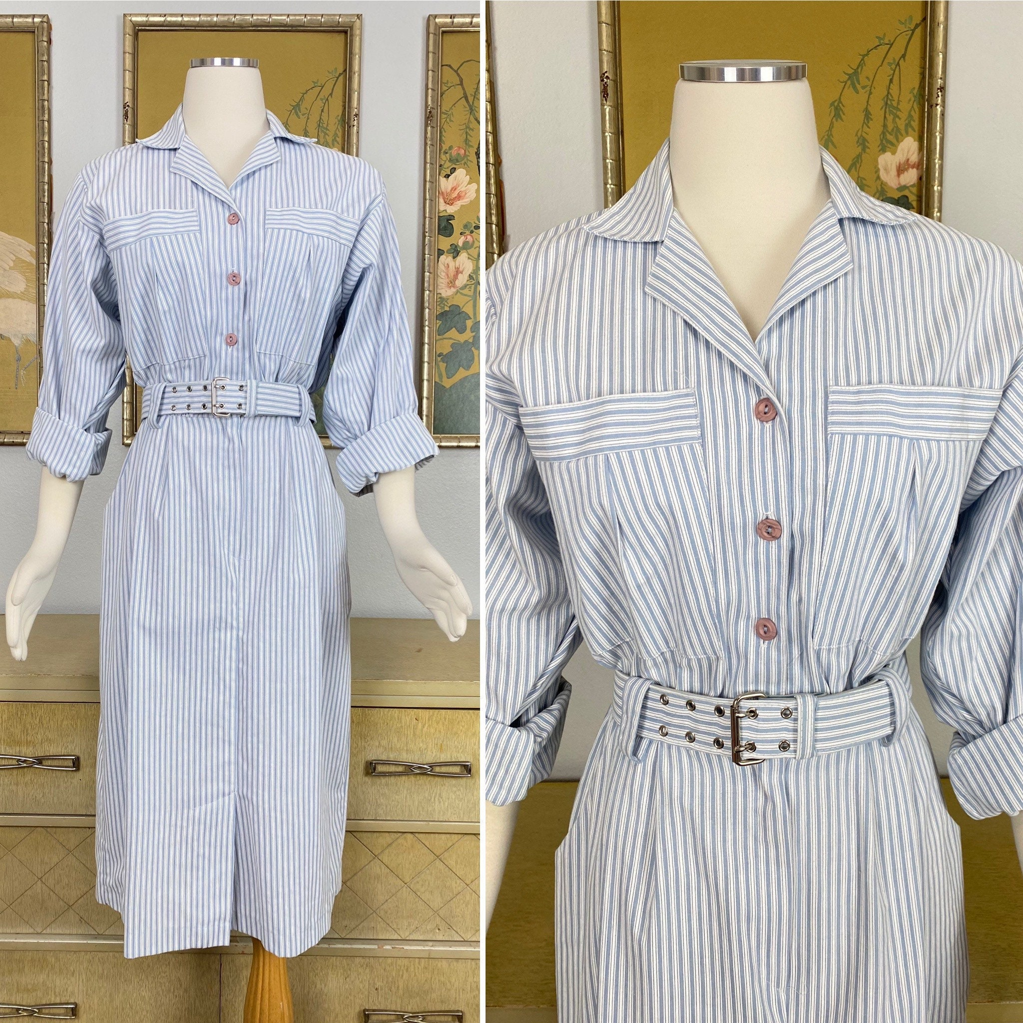 80s Dresses | Casual to Party Dresses 1980S Vintage Blue  White Striped Cotton Shirtdress By Taurus Ii Cool, Crisp With Wonderful Pockets $58.00 AT vintagedancer.com