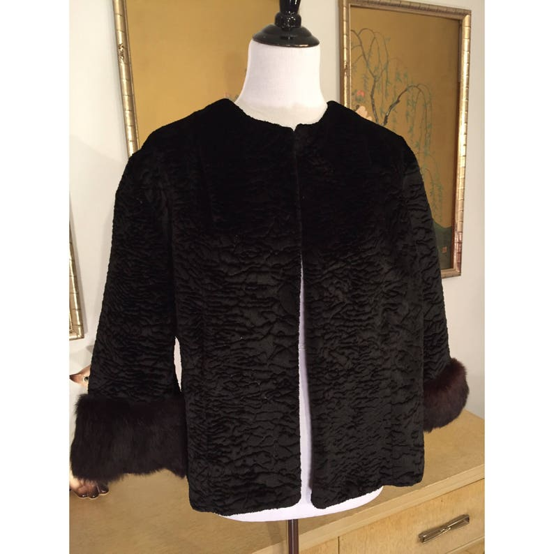 90ee5ed5233 1960s Vintage Cropped Faux Persian Lamb Coat with Real Mink