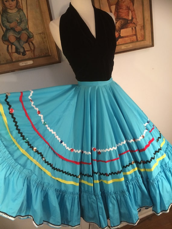 1960s Incredibly Full Turquoise Circle Skirt--Ric