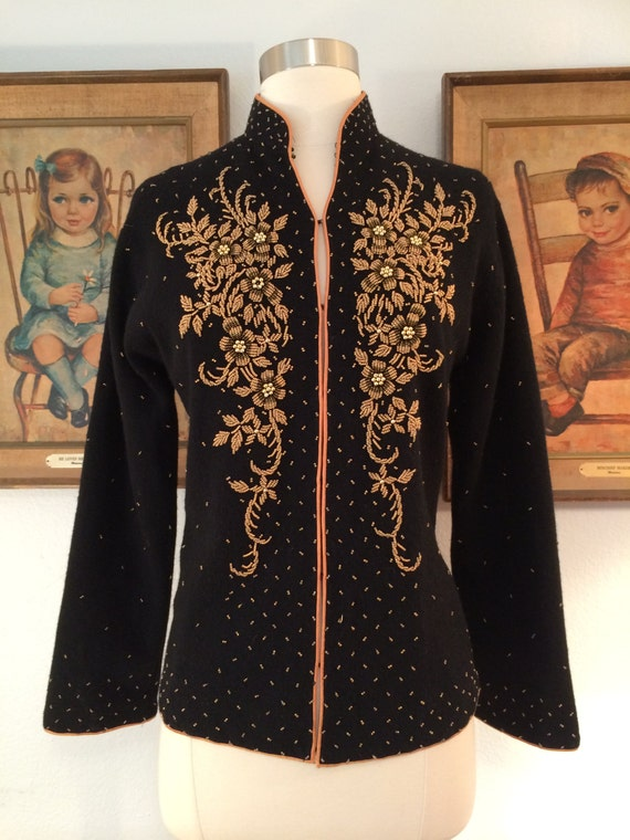1950s Beaded Cardigan---Intricate Gold Beading and