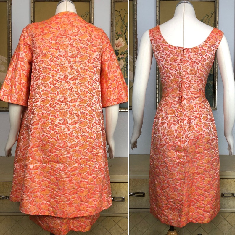 1960s Vintage Dress and Coat Set by Pixie of California Gorgeous Iridescent Brocade in Vibrant Colors!