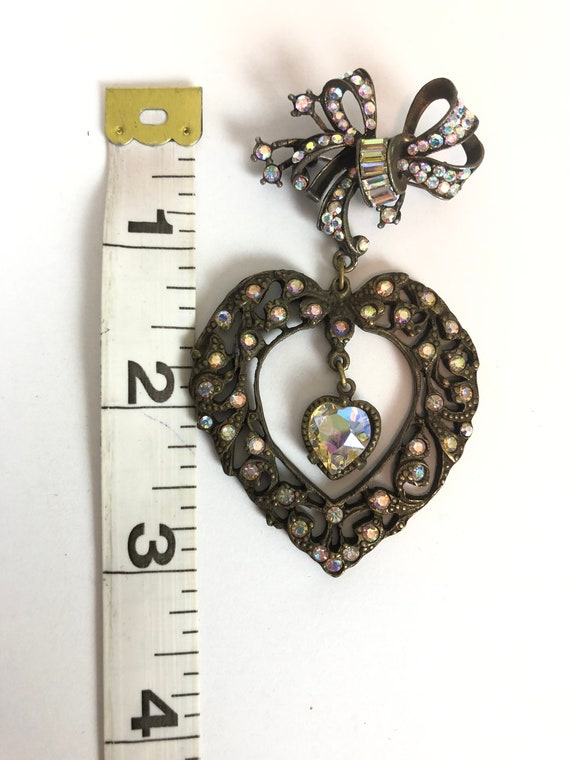 Vintage Bow and Heart Valentines Novelty Brooch -… - image 5