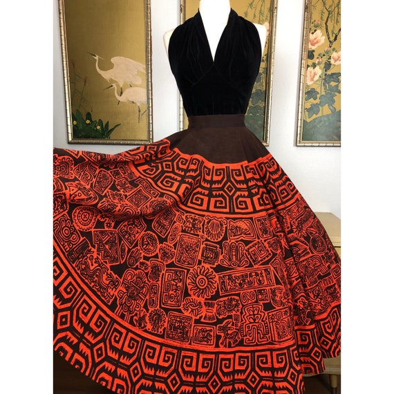1950s Vintage Hand Printed Mexican Circle Skirt by