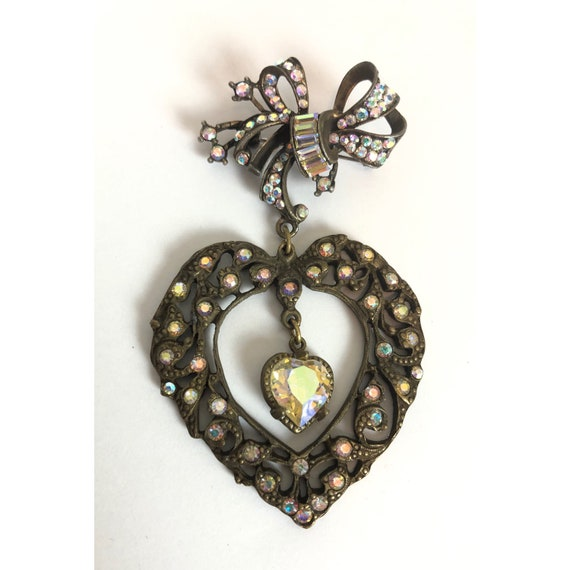 Vintage Bow and Heart Valentines Novelty Brooch -… - image 1