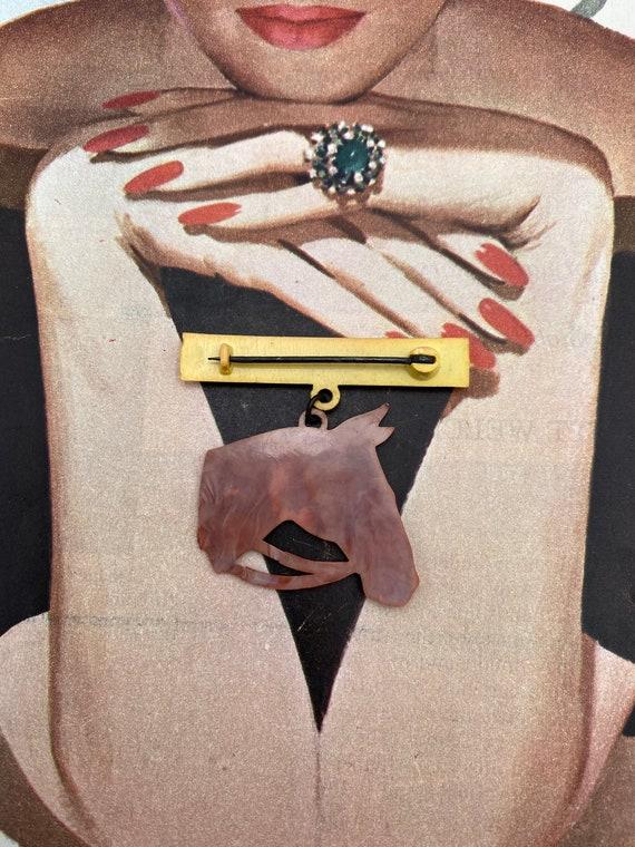 Vintage Celluloid Horse Novelty Brooch -- So Kits… - image 4