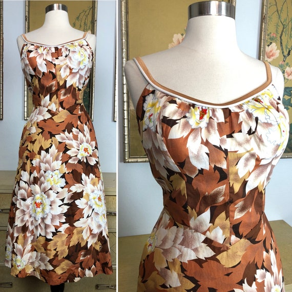1970s Vintage Tropical Print Sundress by DeWeese D