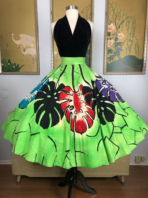 1950s Vintage Hand Painted Mexican Circle Skirt --