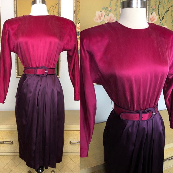 1980s Raspberry and Plum Dress by Maggy London Pet