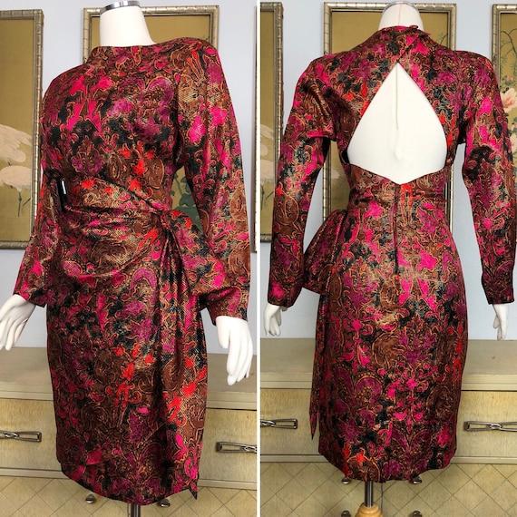 1980s Vintage Silk Faux Sarong Dress --  Vibrant P