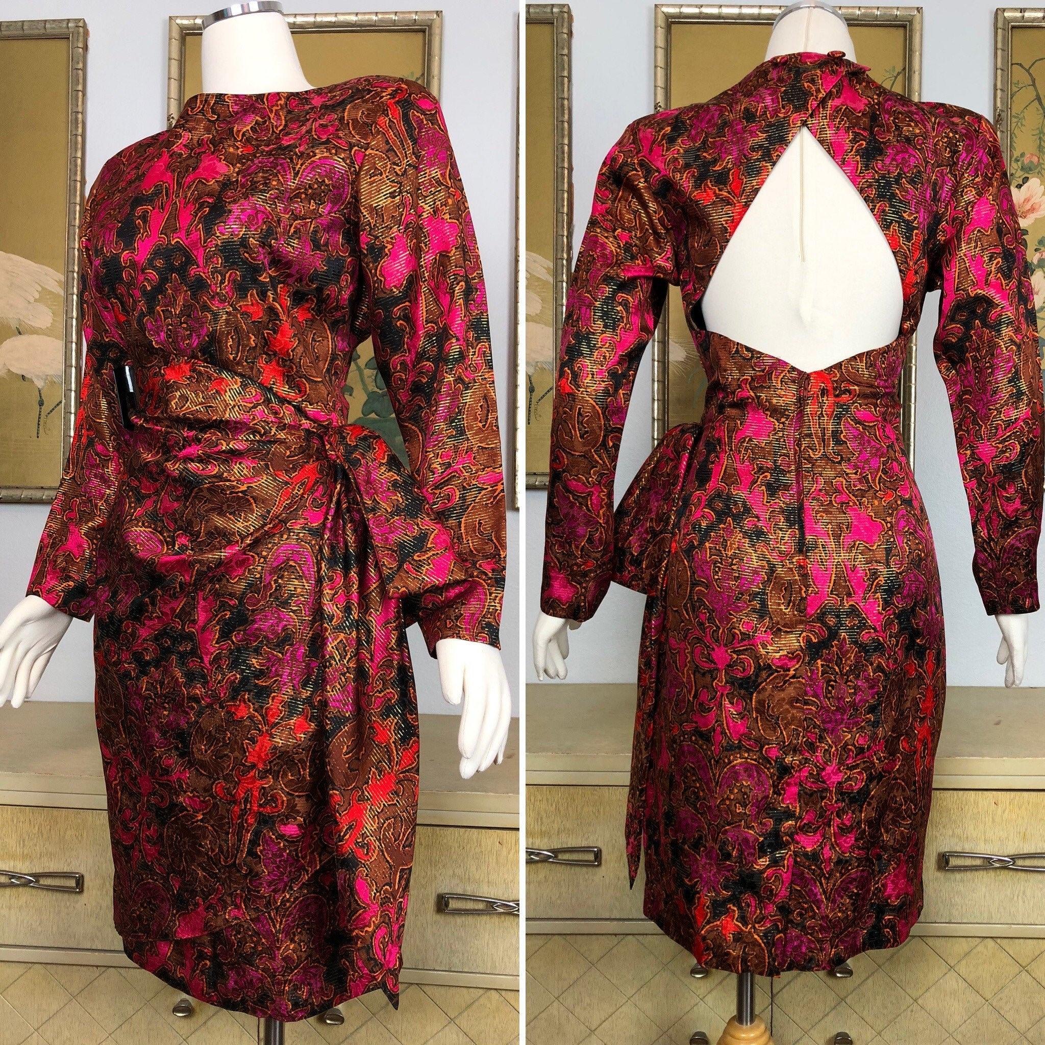 80s Dresses   Casual to Party Dresses 1980S Vintage Silk Faux Sarong Dress Vibrant Print Tropical Print $27.50 AT vintagedancer.com