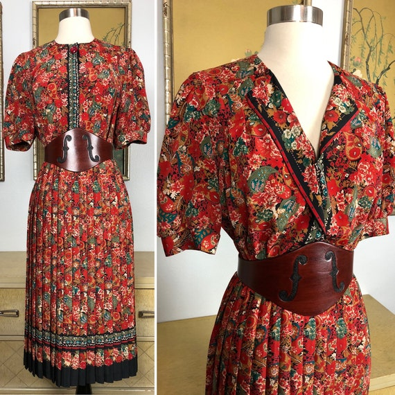 1970s 80s Vintage Paisley and Floral Print Dress -