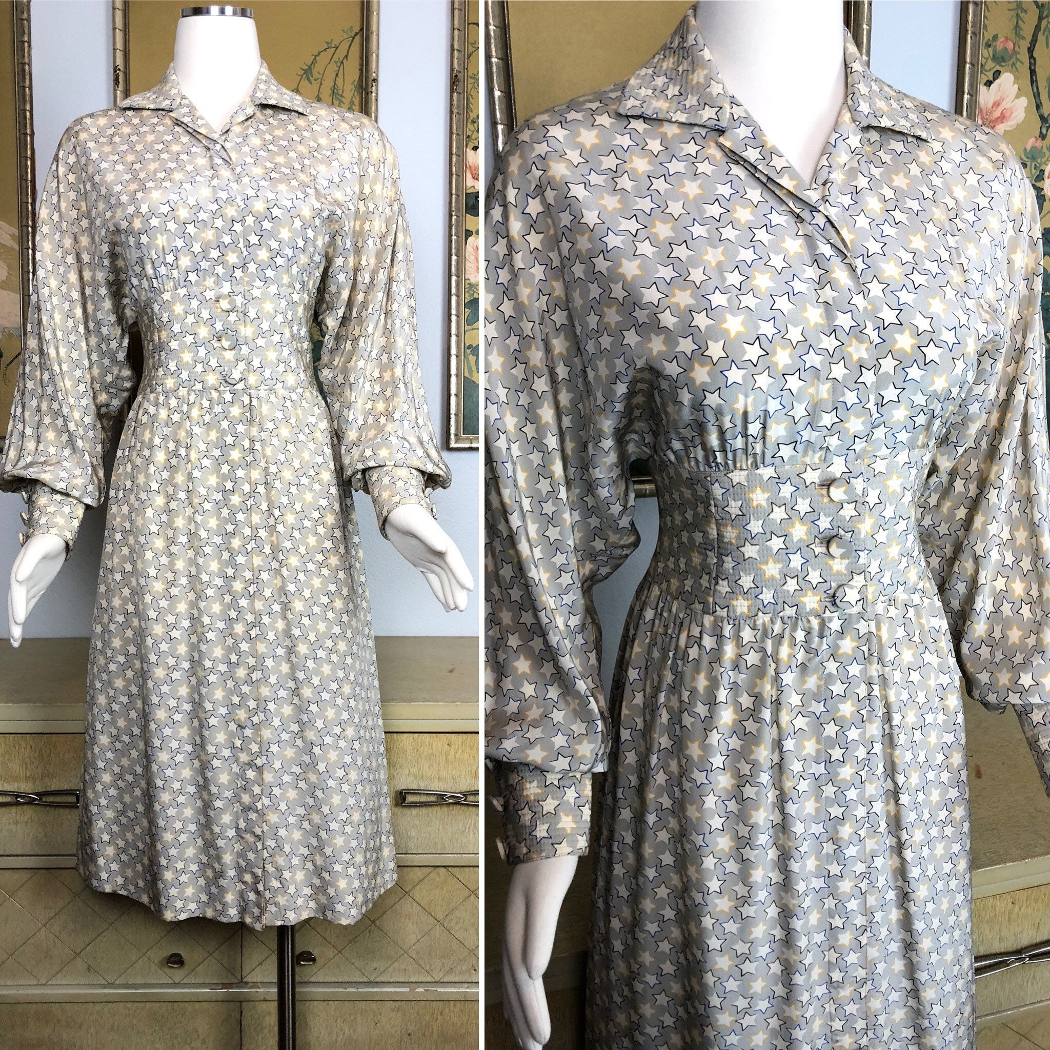 80s Dresses | Casual to Party Dresses 1980S Vintage Star Print Dress By Saks Fifth Avenue Flattering Silhouette  Darling Print $27.50 AT vintagedancer.com