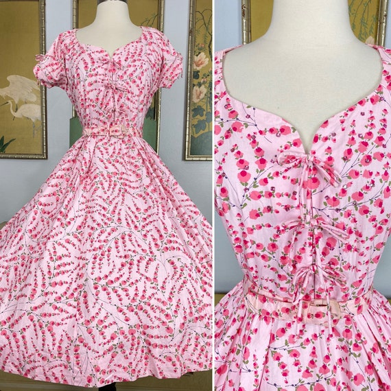 1950s Vintage Floral Print Cotton Dress by Toby Ty