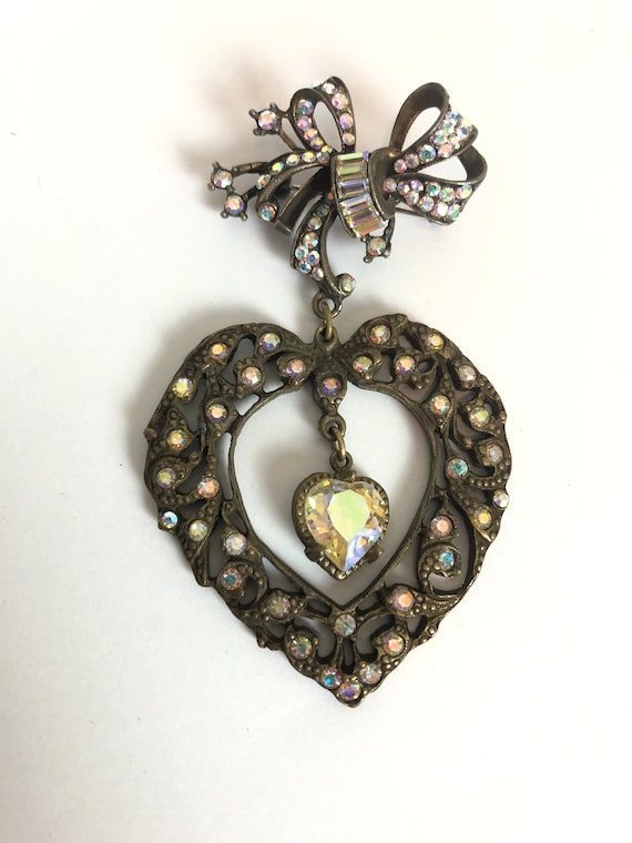 Vintage Bow and Heart Valentines Novelty Brooch -… - image 3