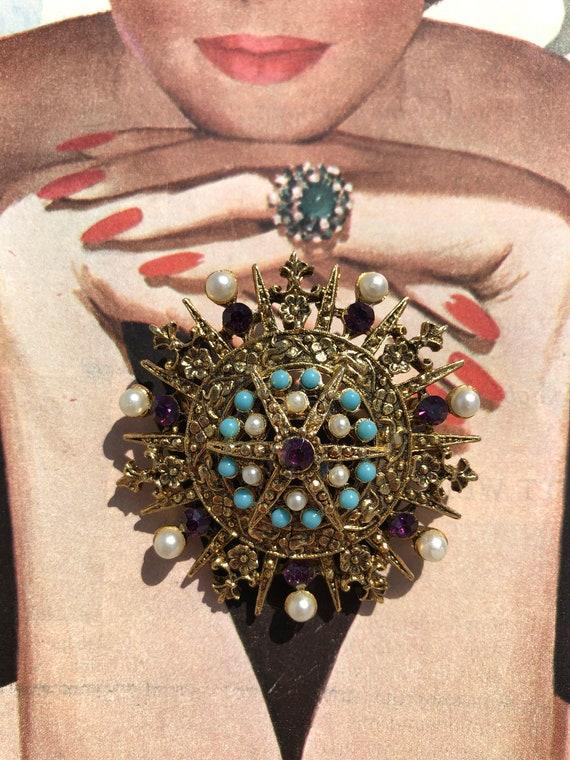 Vintage Rhinestone and Pearl Brooch  -- Ornate De… - image 1