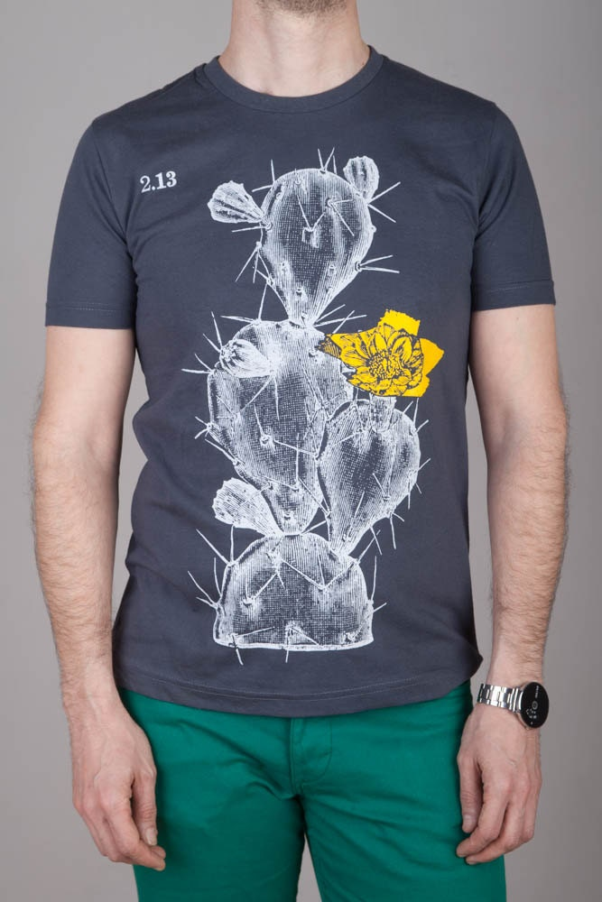 2018-2019 vente 20 % de fleur réduction. croquis botanique ancienne avec fleur de jaune écran imprimé sur tee-shirt gris qualité disponible en S, M, L et XL du cactus pour hommes 7524c9