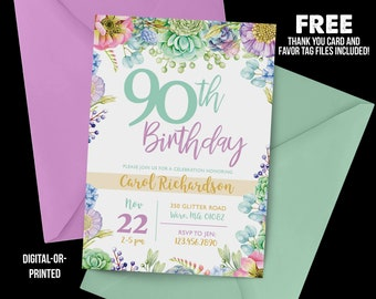 90th Birthday Invitation 1928 Watercolor Floral Milestone Pastel Adult Purple