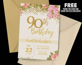 90th Birthday Invitation 1928 Floral Milestone Gold Party Adult Cream
