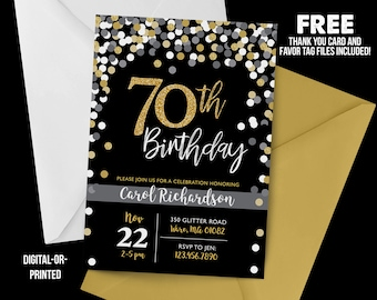 70th Birthday Invitation 1948 Chalkboard Confetti Milestone Gold Party Adult Black And