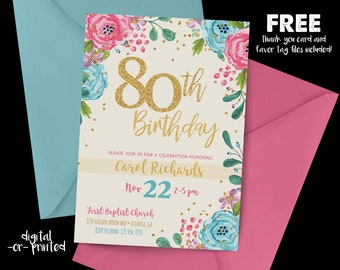80th birthday invitations etsy 80th birthday invitation 1938 80th birthday floral invitation milestone birthday gold party adult birthday cream invitation watercolor filmwisefo