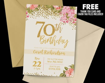 70th Birthday Invitation 1948 Floral Milestone Gold Party Adult Cream
