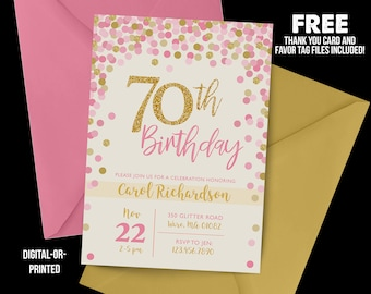 70th birthday invite etsy 70th birthday invitation 1948 70th birthday confetti invitation milestone birthday gold party adult birthday cream invitation pink filmwisefo