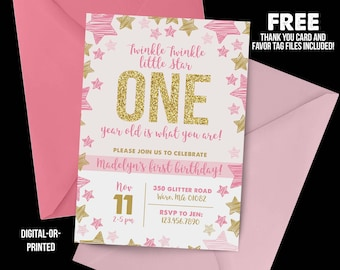 Twinkle Little Star Birthday Invitation Glitter First Pink And Gold Stars
