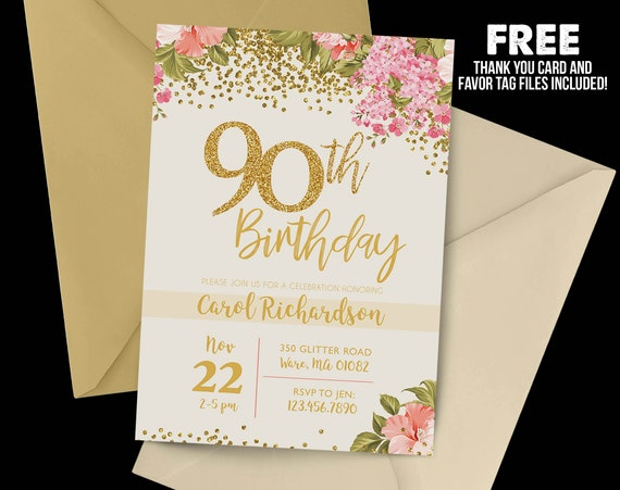 90th Birthday Invitation 1928 Floral