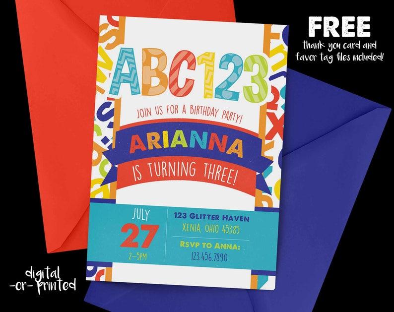 Alphabet Birthday Invitation Abc 123 Rainbow Birthday Etsy