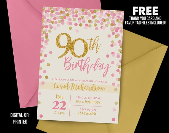 90th Birthday Invitation 1928 Confetti