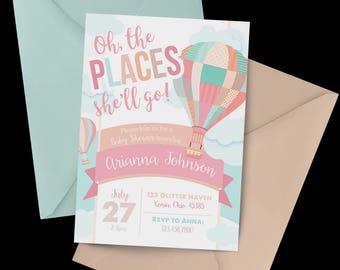 Hot Air Balloon Baby Shower Invitation, Watercolor baby shower, Baby Shower Invitation, Hot Air Balloon baby shower, Oh The Places You'll Go