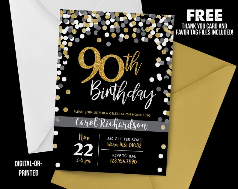 90th Birthday Invitation 1928 Chalkboard Confetti Milestone Gold Party Adult Black And