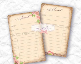 Rustic Vintage Inspired Antique Library and Printable Journal Cards