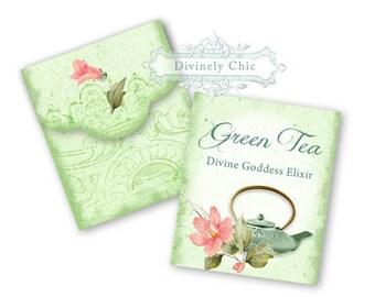 Printable Tea Bag Envelopes Instant Download Spring Green Tea