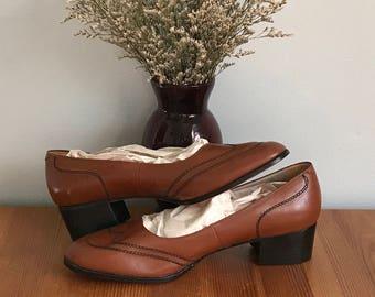 vintage 70s Miramonte short block heels size 7.5 M